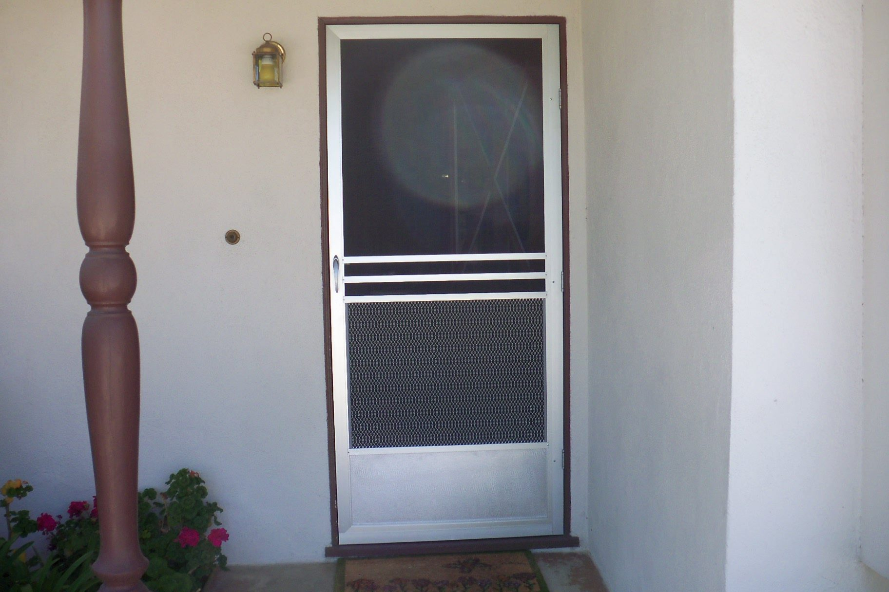 Screen Doors with a pet grill |