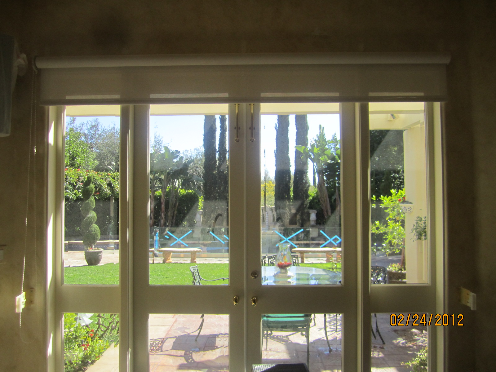 Rolled up Drop Down Shade Screen in Encino