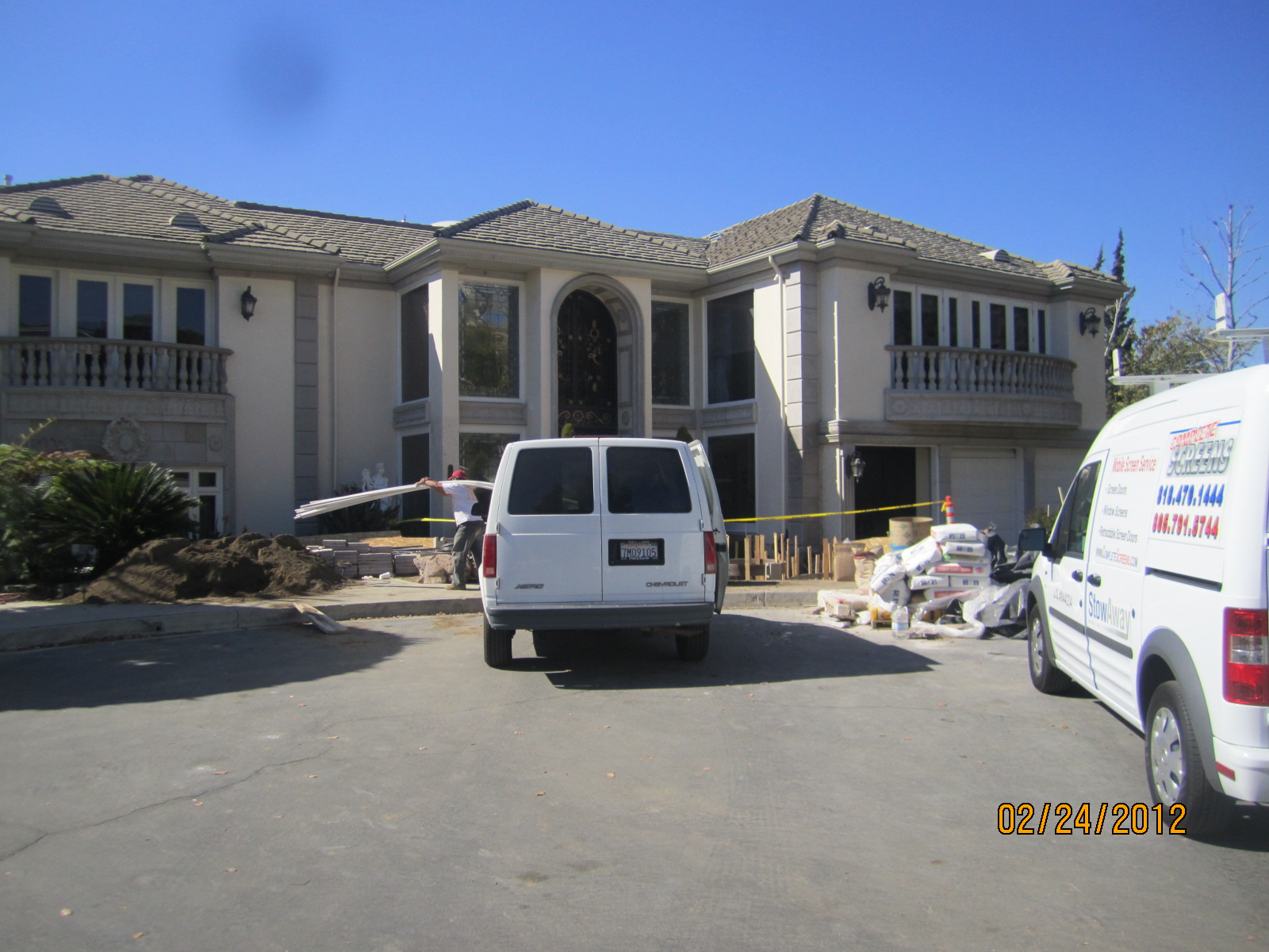 Outside View of Window Screens and Screen Doors installed in Encino
