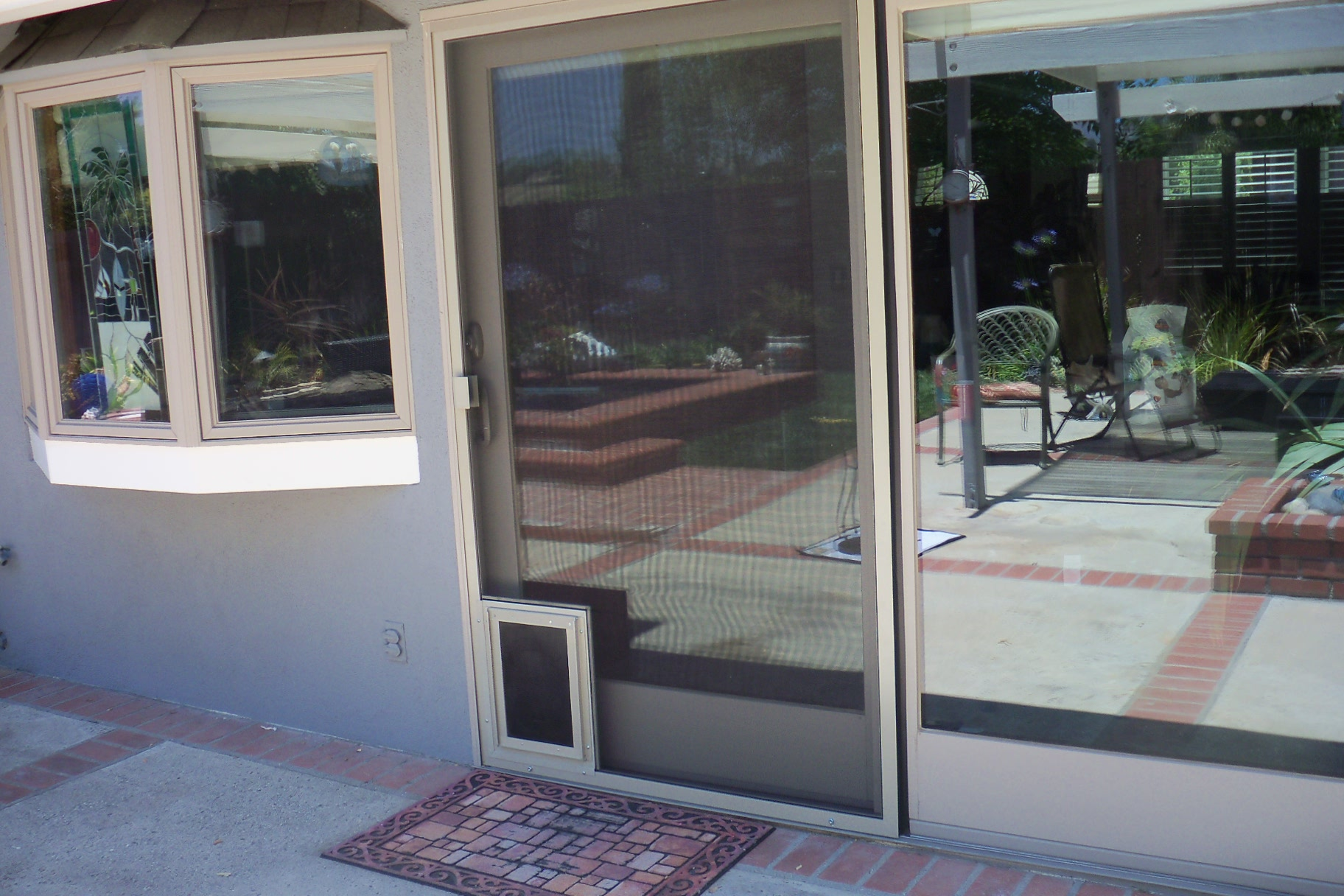 Heavy Duty Patio Screen Door With Pet Door In Calabasas Licensed