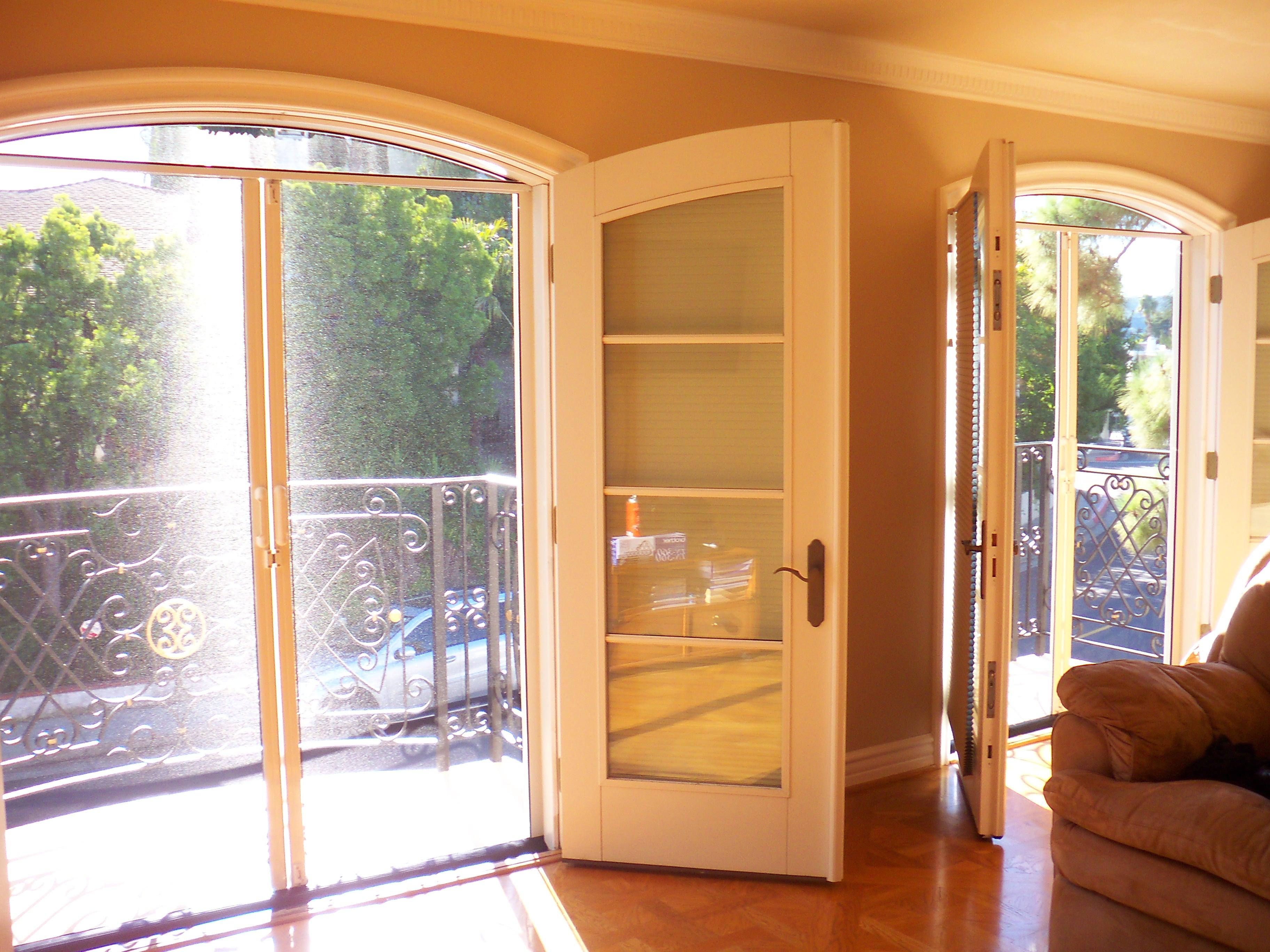 Double Set French Doors Retractable Screen Doors