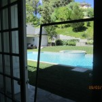 New window screens overlooking pool