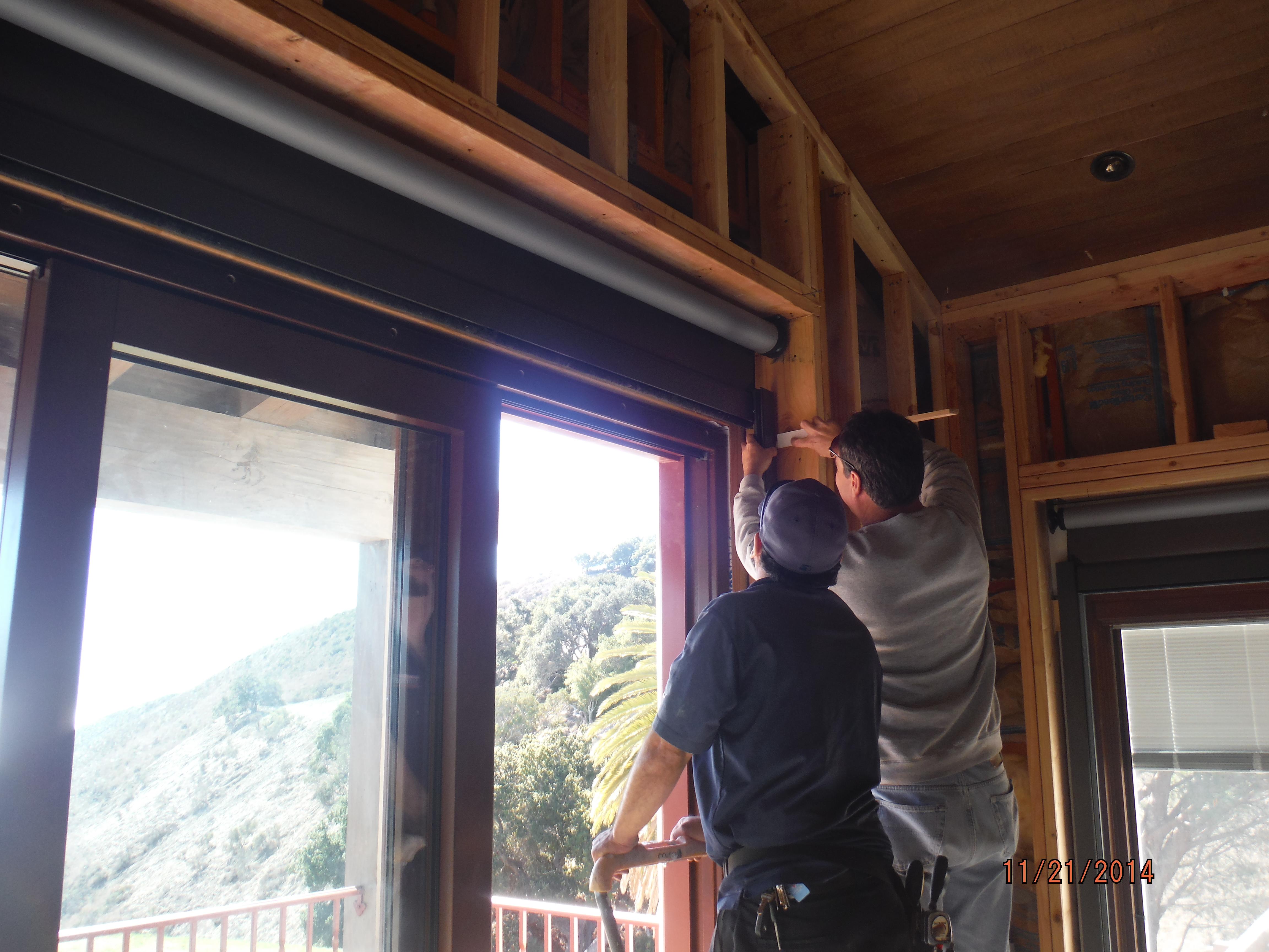 Installation Motorized Power Screens front view bi-folding windows in Santa Barbara in 2nd floor |