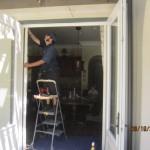 Double set retractable screen doors for French doors installed in Topanga | Topanga Screens