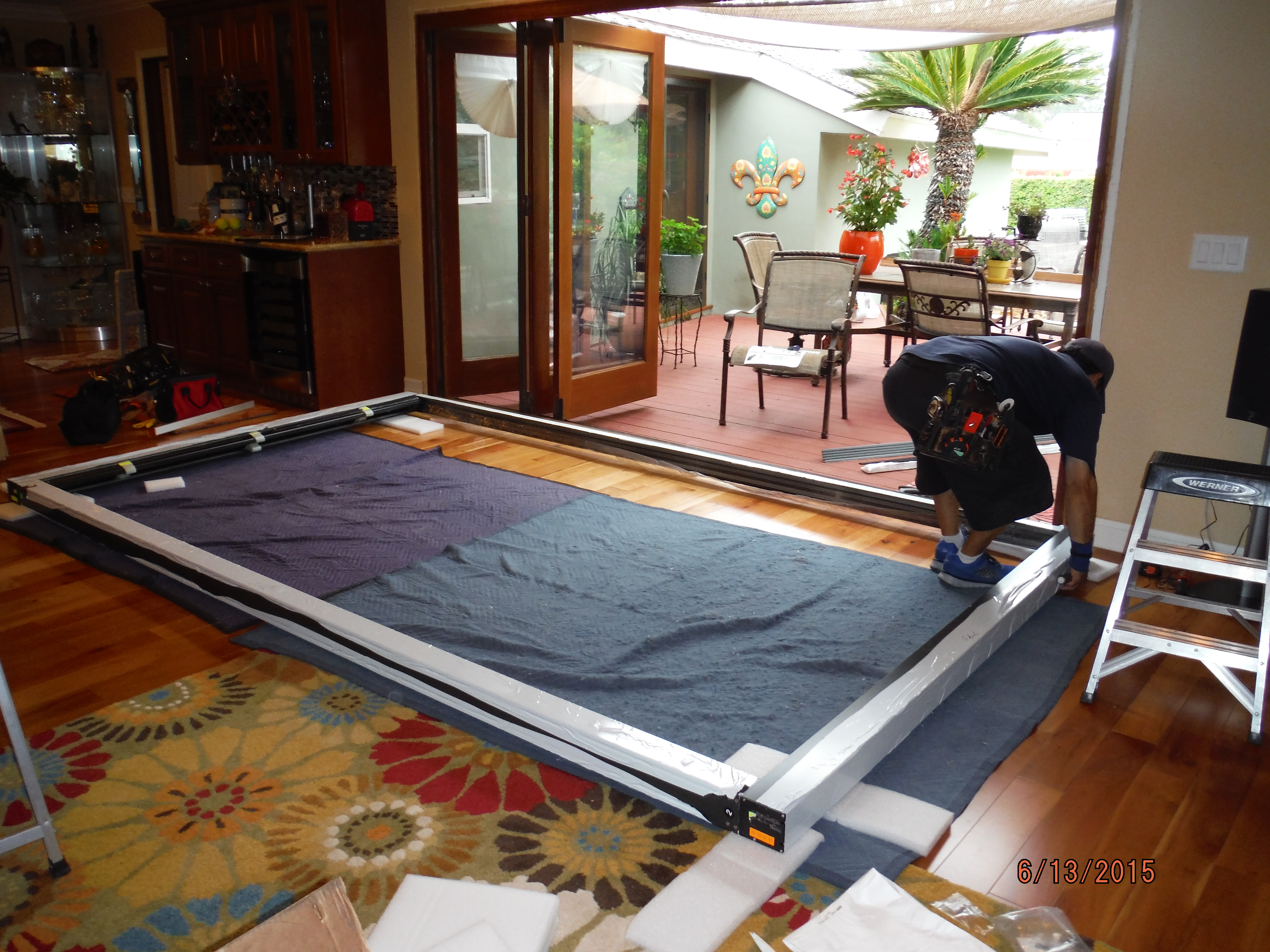 Installation of Centor Arquitectural Screen for Bi-Folding Glass Doors in West Hills |