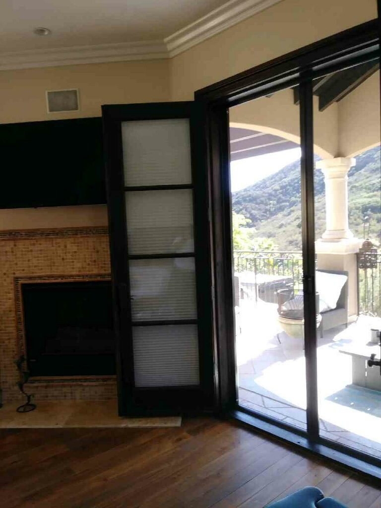 retractable screen for patio | Black Double Set of Retractable Screens for Patio