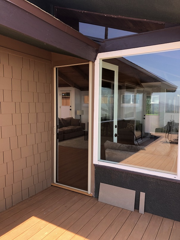Single disappearing screen door exterior application | Every retractable screen door is designed and custom built to reflect each client's personal wants and needs.